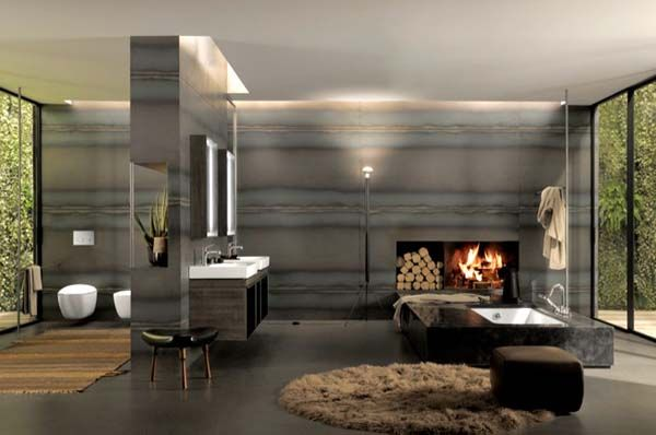 A fireplace in the bathroom is the ultimate luxury.