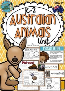 This unit is jam packed with resources to assist you in teaching a unit on Australian Animals. CHECK OUT WHAT'S INCLUDED IN THIS PACK IN MORE DETAIL HEREMade by an Australian teacher and tested in my classroom, your students are going to LOVE learning about the classification of animals, habitats, diet and features of the following Australian animals: Wombats Kangaroos Emus Kookaburras Echidnas Tasmanian Devils Platypuses Dingoes Possums Bandicoots Koalas Wombats CockatoosGoing to a Wildlife…