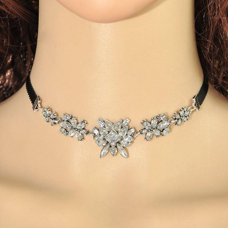 Yanqueens Retro Luxury Flower Crystal Rhinestone Pendant Choker Necklace Collar Jewelry Women Statement Jewelry Free shipping