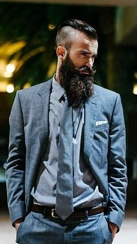 Beards. Men. Suit.: