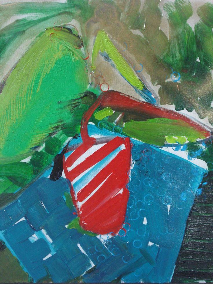 Zielony, olej na płótnie, 60x50