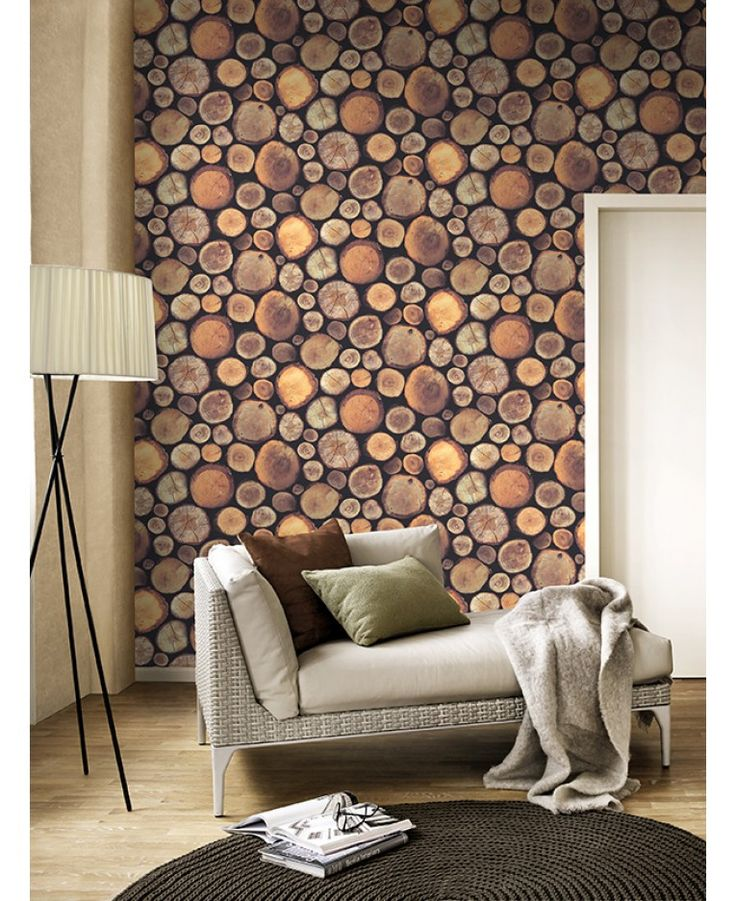 This fantastic logs wallpaper uses a photographic style image of stacked, chopped logs in natural colours and tones for an incredibly realistic finish.