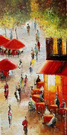 Oil painting / Город ручной работы. Ярмарка Мастеров - ручная работа. Купить Городская улица (большая картина), Авторская картина маслом. Handmade.