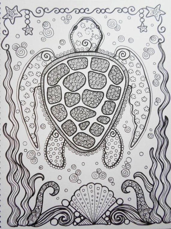 sea turtles coloring book page colouring adult detailed advanced printable zentangle kleuren voor volwassenen coloriage pour - Printable Popsicle Coloring Pages