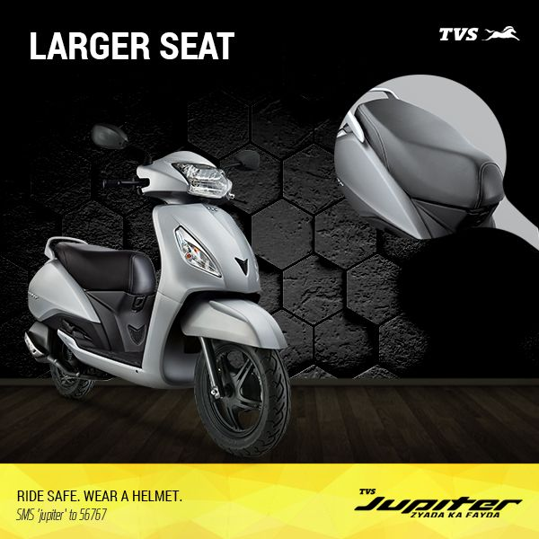 A large comfortable seat for long, memorable journeys only on the TVS Jupiter!