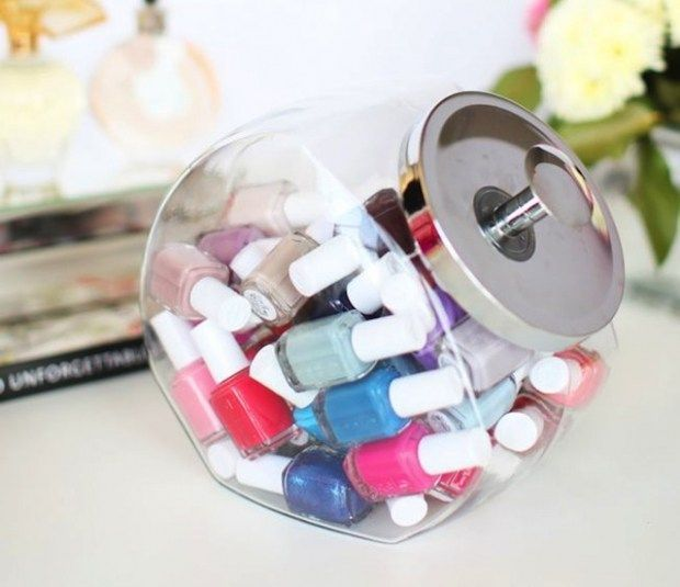 DIY Bathroom Organizer Ideas - Use a Cookie Jar to Store and Organize Nail Polish and Beauty Products in your Bathroom - via Her Campus