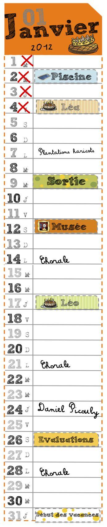 Calendriers 1 mois par page A4, sympas mais les jours ne sont indiqués que par l'initiale, ce qui ne va pas pour les petits, dommage !!!