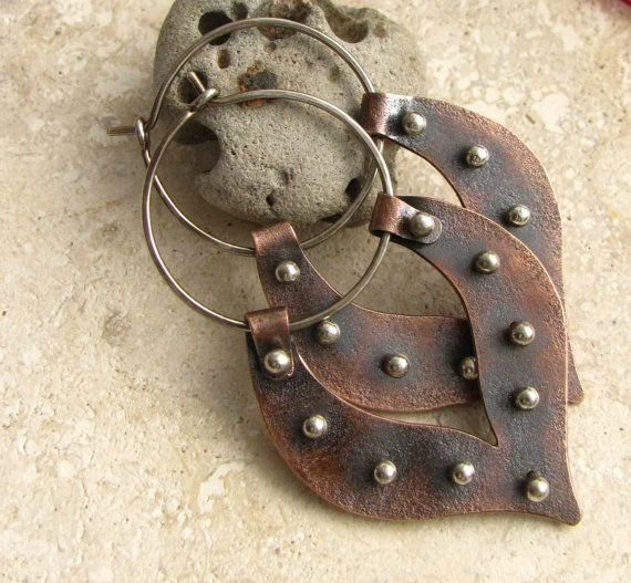 Large Tribal Lotus Copper Hoop Earrings  -  Sterling Silver And Copper Mixed Metal Earrings - Metalsmith jewelry