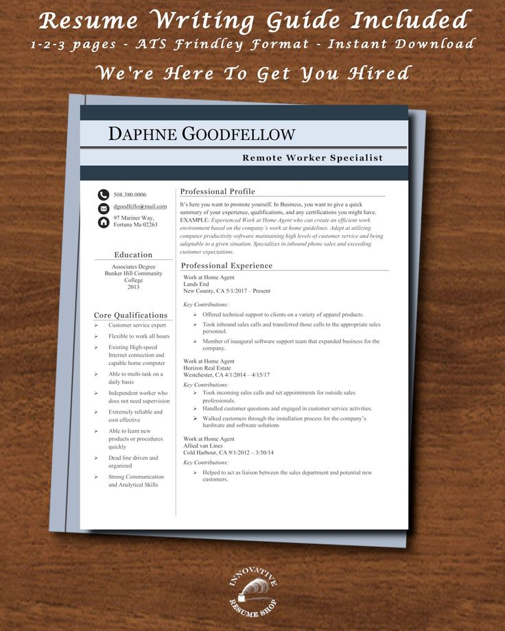 Work From Home Resume Remote Worker With 40 Page Guide On