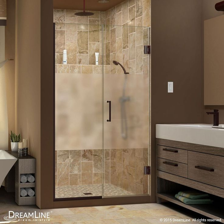 Unidoor Plus 40-1/2 to 41-inch x 72-inch Semi-Frameless Hinged Shower Door with Half Frosted Glass in Oil Rubbed Bronze