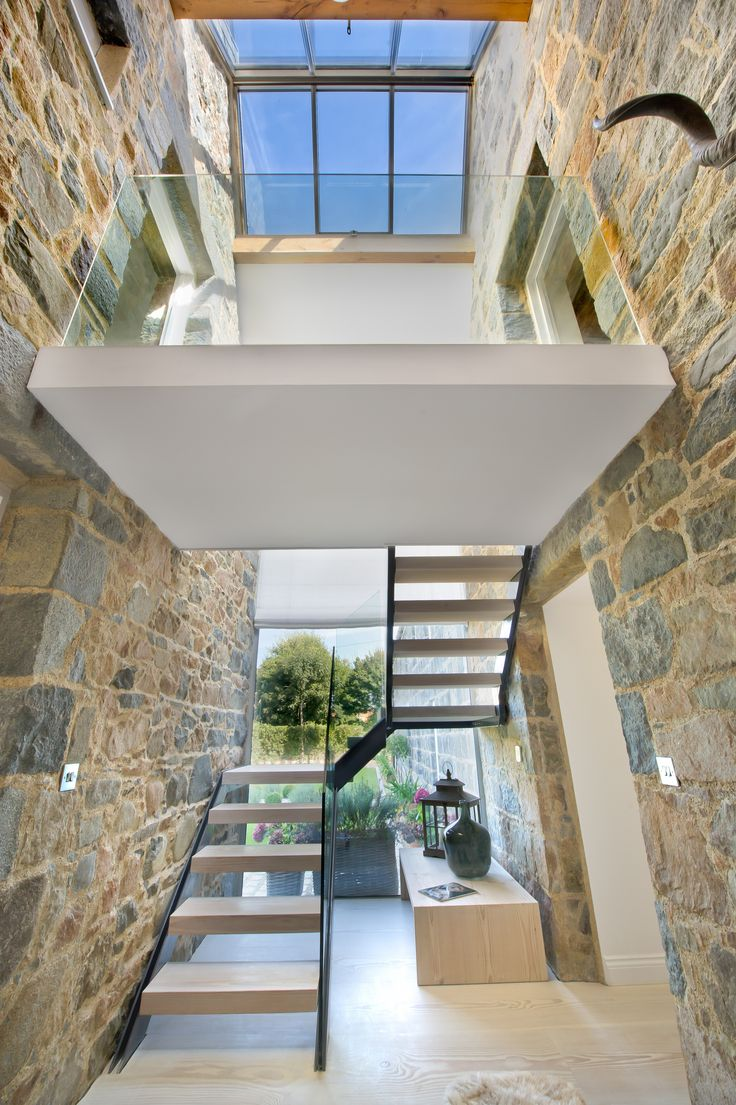 Steel Glass And Timber Staircase Traditional Guernsey Farmhouse
