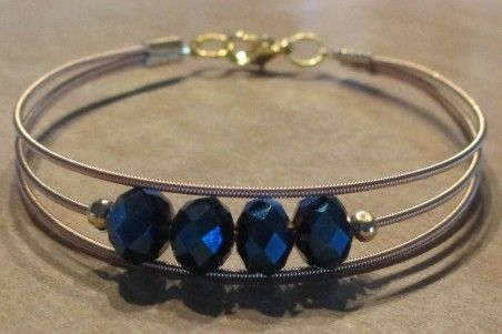 3 Strand Guitar String Bracelet with Midnight Blue Crystals
