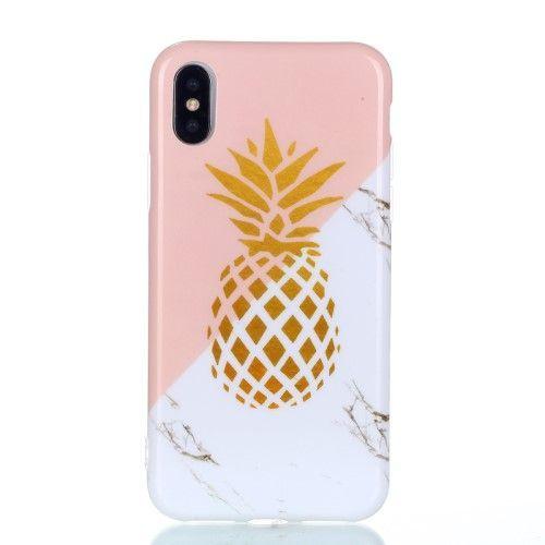 Coque iPhone XS / X Ananas Doré Marbre