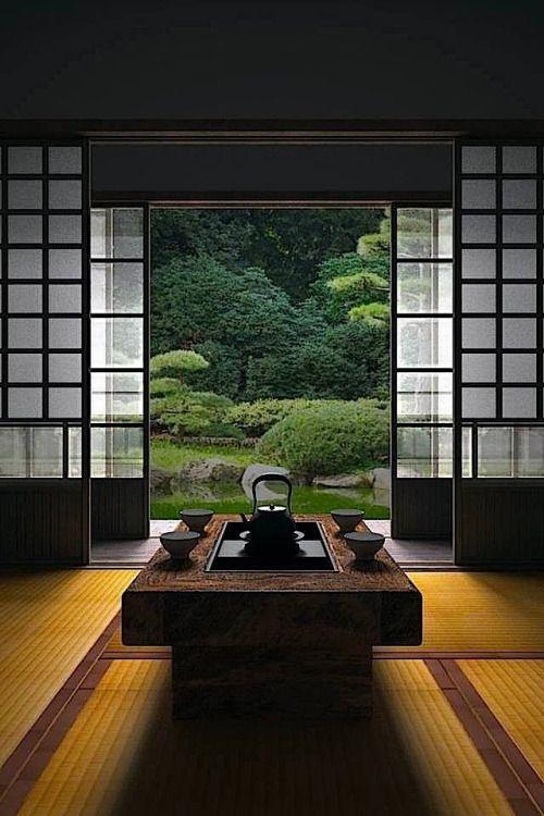 thekimonogallery: Japanese room, Washitsu 和室 and Japanese garden Peaceful.....