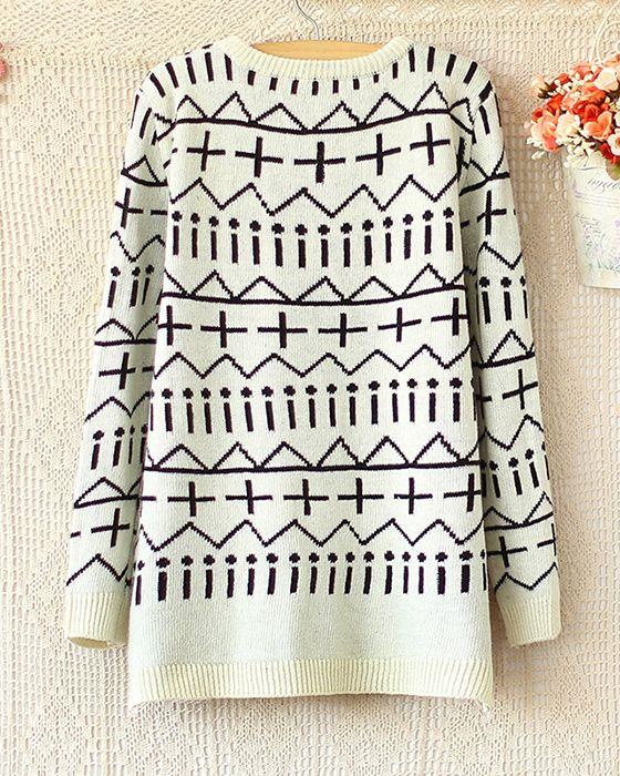 Irregular geometric jacquard knit long-sleeved sweater/dress