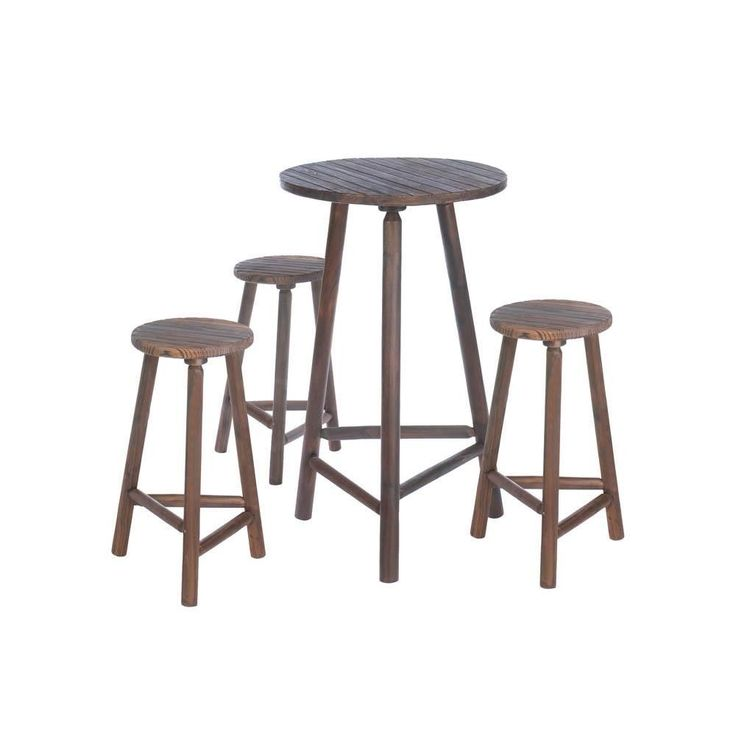 Entertain In Style With This Lovely Wooden High Top Table And Stool Set.  Made