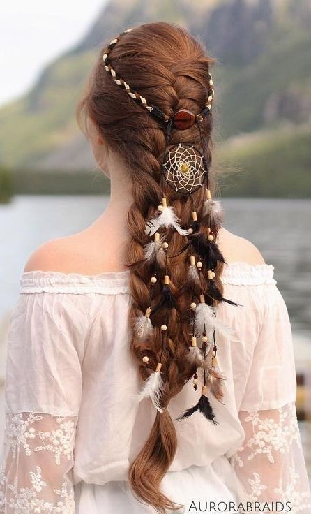french braid with dreamcatcher headband <3