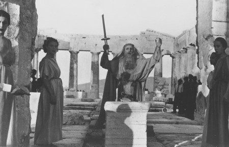 The priest of the Olympic Flame surrounded by Vestal Virgins performs a ceremony on the Acropolis in Athens, Greece. \ Mandatory Credit: IOC Olympic Museum /Allsport (Credit: Getty Images)