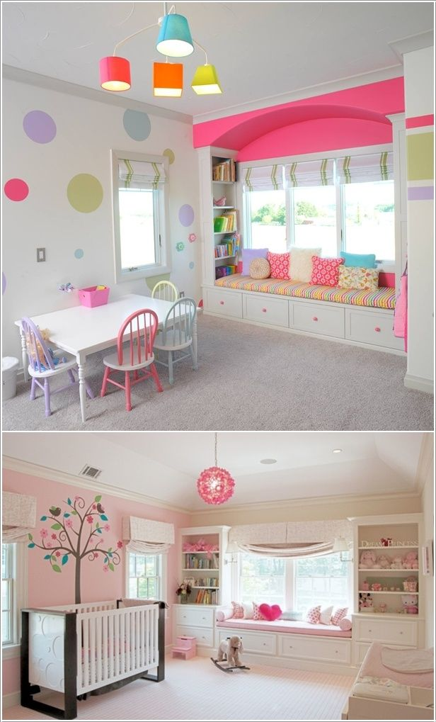 Built In Bookcases Around A Window Seat In Kids Room
