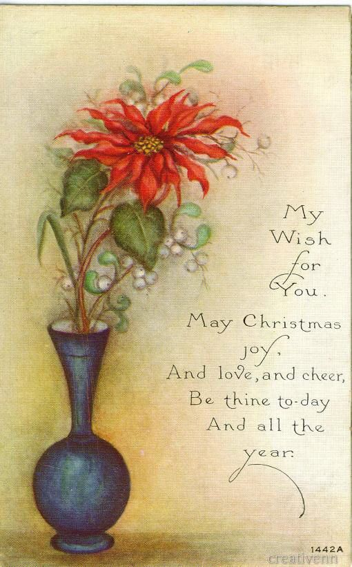114 best cardsvintage christmasflower images on pinterest vase with poinsettias m4hsunfo