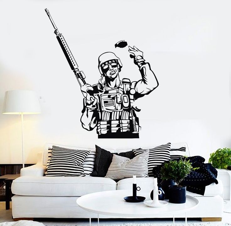 Vinyl Wall Decal American Soldier Military Art Boy Room Stickers (ig3945)