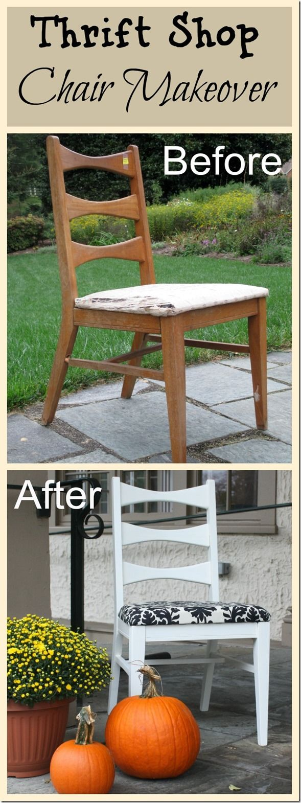 Thrift shop chair gets a whole new look via Thrift Store Makeovers to Benefit Sh…