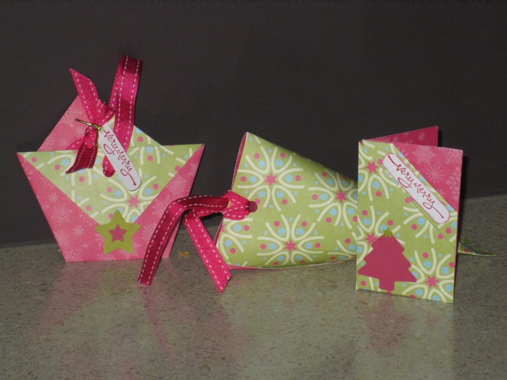 Diaper fold bag, matching bon bon and origami fold gift card