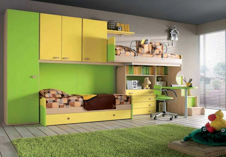 Great use of space! Beds and cabinets.