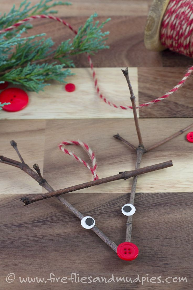 Twig Reindeer Ornaments! A sweet Christmas nature craft for kids. | Fireflies and Mud Pies