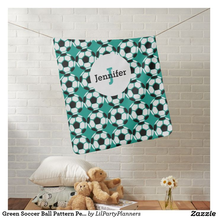 Green Soccer Ball Pattern Personalized Unique Baby Baby Blanket
