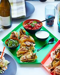 Double Decker Dr Pepper Chicken Tacos | These superfun tacos get flavor from sweet and sticky Dr Pepper–roast chicken and roasted peppers. Get the recipe at Food & Wine.