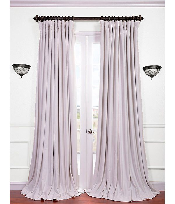 Signature Off White Extra Wide Velvet Blackout Pole Pocket Curtain Extra Wide Curtains Cool Curtains Velvet Curtains