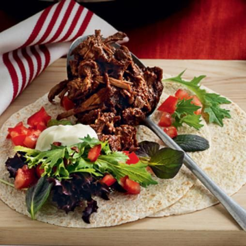 Slow-cooked pulled beef