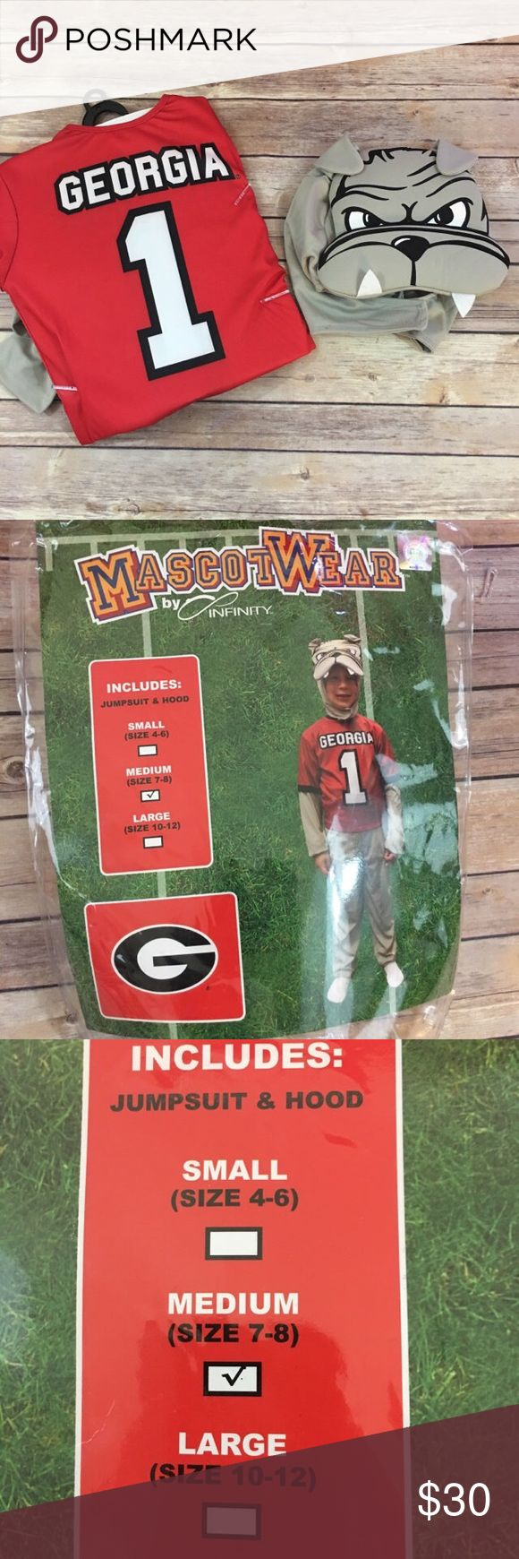 MascotWear Mascot Wear Georgia UGA Bulldog Costume MascotWear Mascot Wear Georgia UGA Bulldog Costume M 7/8  Super cute!  New without tag.  Has been removed from packaging for photos.  Includes head piece and bodysuit.  Size is medium or 7/8.  #mascotwear #costume #uga #bulldog #bulldogs #georgiaonmymind #costume #spiritweek #halloween #dressup #gameday #THEseason #football #mascot #dawgs #godawgs #new #nip #nwot MascotWear Costumes