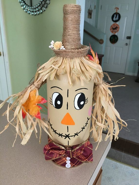 Wine Bottle Scarecrow by KatharinesCrafts on Etsy