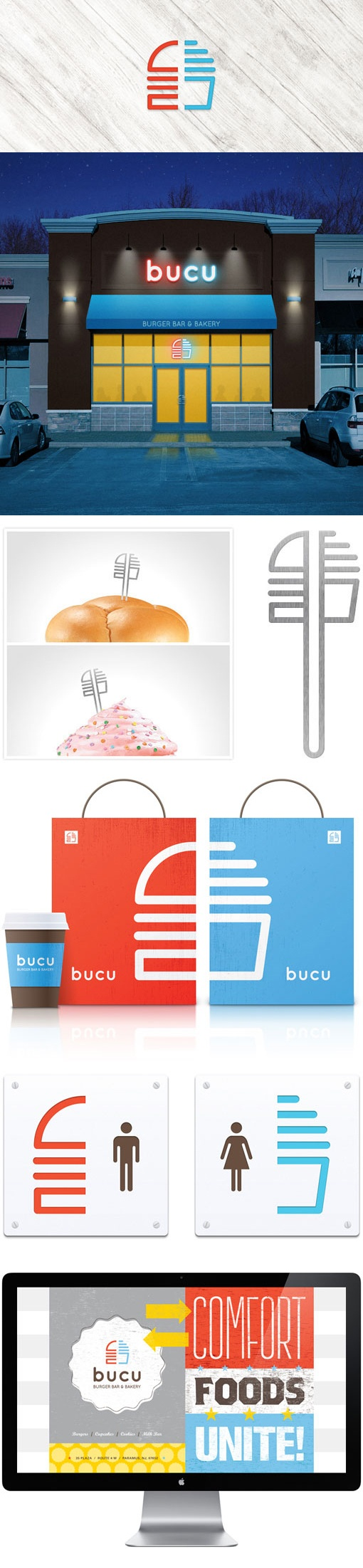 BUCU burger and cup­cake restaurant. branding. identity design. graphic design. design by Stebbings Partners