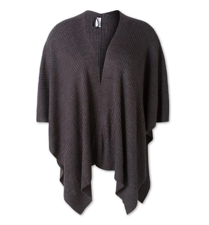 Damen Poncho in dunkelgrau - Mode günstig online kaufen - C&A     29 Euro (Stand Oktober 2016), Poncho weite Passform (Große Größen), Rückenlänge ca. 180 cm, Rippstrick aus 100 % Polyacryl