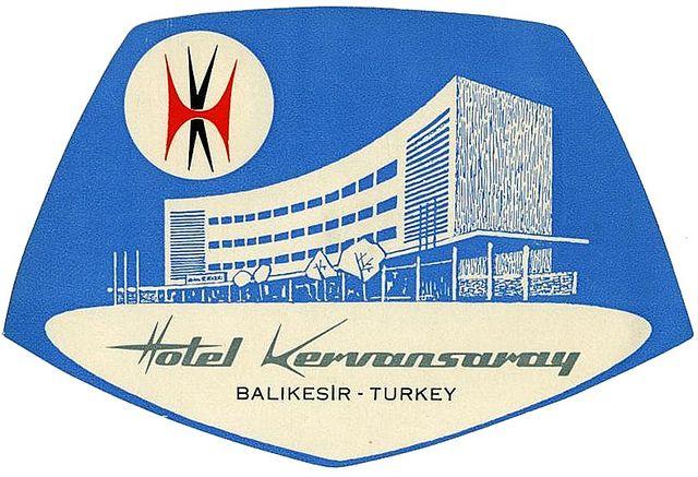 vintage luggage label  Hotel Kervansaray   Turkey