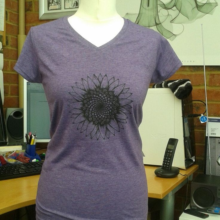 Barbara, my mannequin,  tries on a sunflower tee!