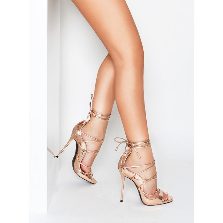 Harper Rose Gold Lace Up Stiletto Heels : Simmi Shoes