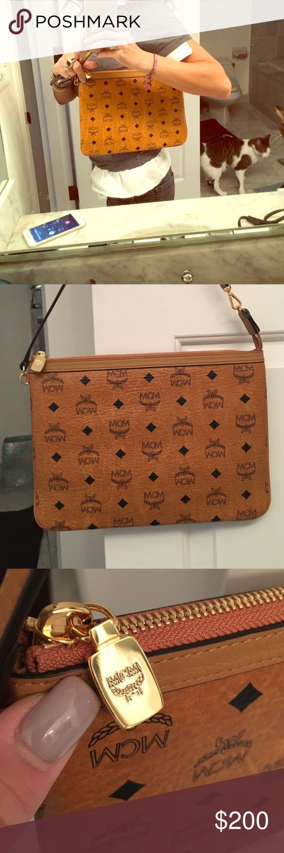 MCM Cognac small pouch - last one! ❤️❤️ Never worn, new with tags, iconic Authentic MCM bag! MCM Bags Shoulder Bags
