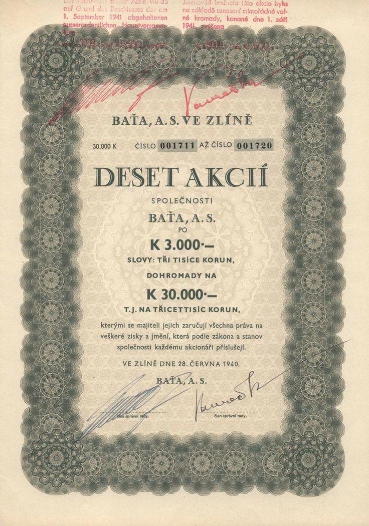 BAŤA a.s. ve Zlíně (BAŤA AG.) Akcie na 10x 3 000 Korun (30 000 K). Zlín, 1940.