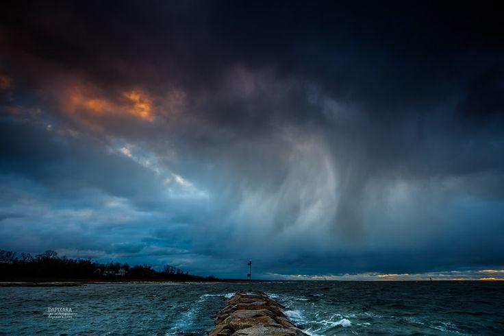 Angry Sky Over Rock Harbor at Sunset Tonight Cape Cod. Dapixara photography https://dapixara.com