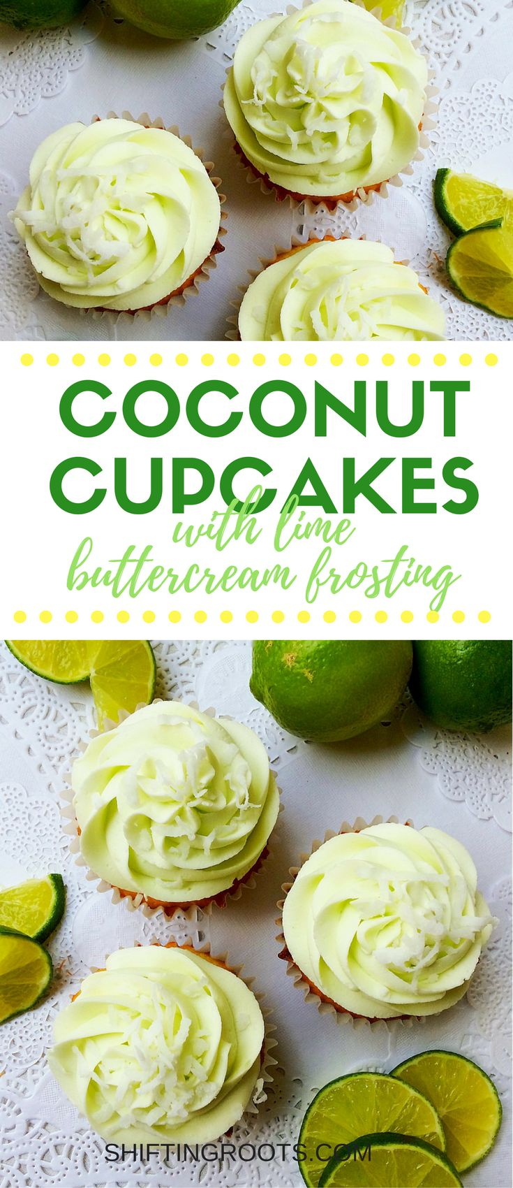 Life's short, eat dessert first! Coconut and lime combine for an easy tropical cupcake recipe you'll want to make over and over. You'll love the homemade coconut cake recipe and drool over the lime frosting. Baking from scratch never tasted so good!