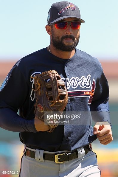 Nick Markakis of the Braves trots off the field between innings during the spring training game between the Atlanta Braves and the Detroit Tigers on March 15, 2017 at Joker Marchant Stadium in...