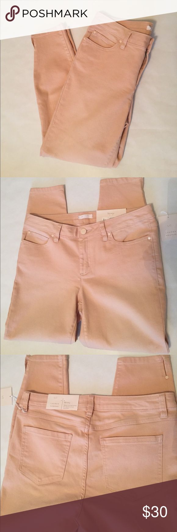 "🆕 LC Lauren Conrad peach denim skinny jeans Beautiful peach skinny jeans by Lauren Conrad. Nailhead details on front pockets, and leg slits. Inseam 26"", waist 17"" laying flat. Leg opening 11"". LC Lauren Conrad Jeans Skinny"