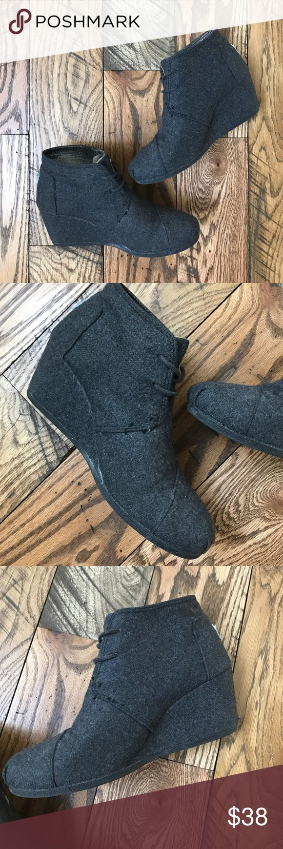 TOMS Desert Wedge Bootie 'Charcoal Gray' Charcoal gray TOMS Desert Wedge size 8.5💗 super cute and so comfortable! In really good used condition! Fit tts. Toms Shoes Ankle Boots & Booties