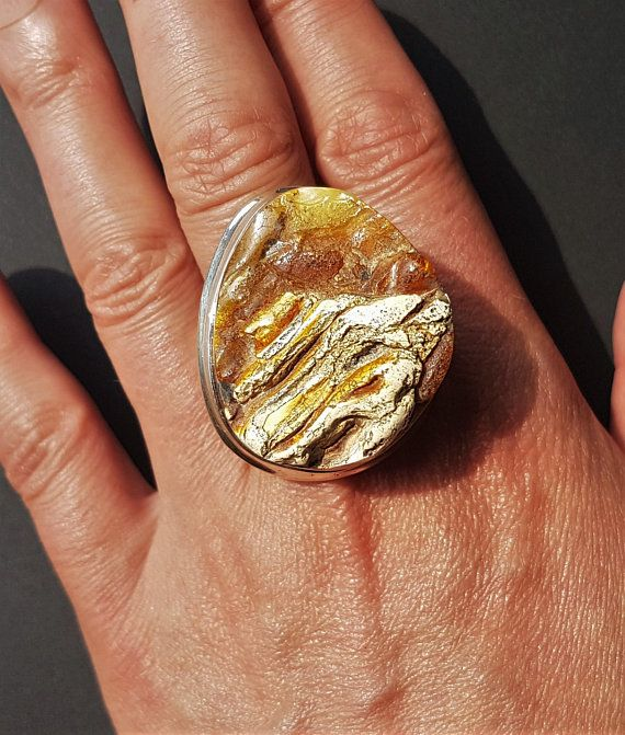 17,7g Large Butterscotch Baltic Amber Ring Sterling Silver Genuine Amber Ring