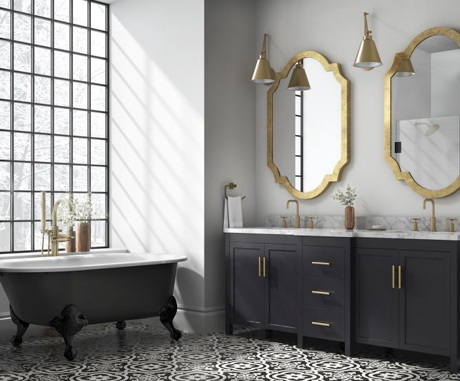 Bathroom With Black And White Patterned Tile Floor Black Vanity And Clawfoot Tub And Large Window White Mosaic Bathroom White Tile Floor White Bathroom Tiles