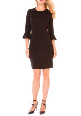 Donna Morgan Women's Three-Quarter Bell Sleeve Jacquard Bodycon Dress - Black - 14